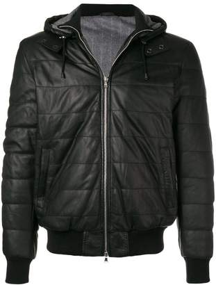 Barba hooded leather jacket