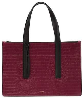 T Tahari Croc-Embossed Leather Tote Bag