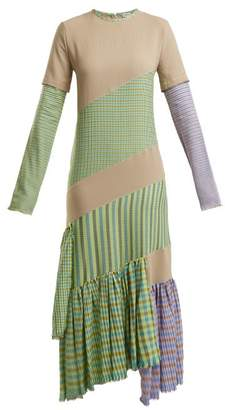 Loewe - Gingham Panel Round Neck Dress - Womens - Beige Multi