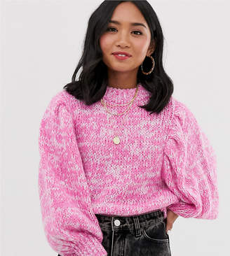 Asos DESIGN Petite jumper in lofty yarn with volume sleeve