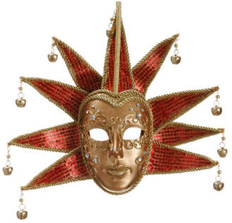 Asstd National Brand 8.5 Gold and Red Glittered Ornate Minstrel Masquerade Mask Christmas Ornament
