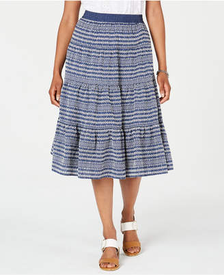 Tommy Hilfiger Paneled Printed Midi Skirt
