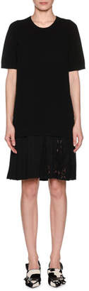 No.21 No. 21 Pleated Lace Hem Short-Sleeve Crewneck Wool Dress