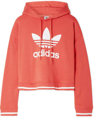 adidas Active Icons Printed Cotton-blend Jersey Hoodie - Red