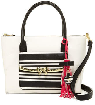 Betsey Johnson Metal Bow Flap Tote with Wristlet $108 thestylecure.com