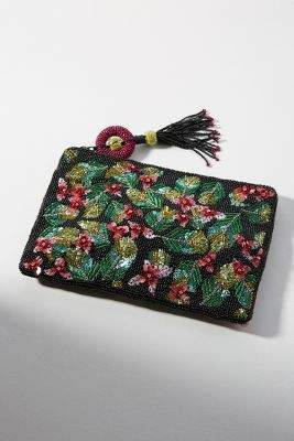 Anthropologie Botanical Embellished Clutch