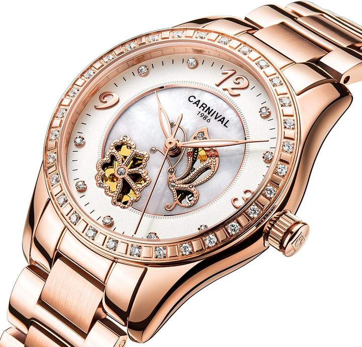 Carnival Women's Automatic Mechanical Watch Inlay Rhinestones Mother of Pearl Dial Chic Butterfly Flower