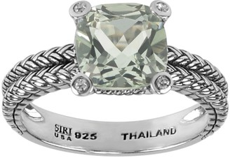 Sterling Gemstone and White Topaz Accent Ring