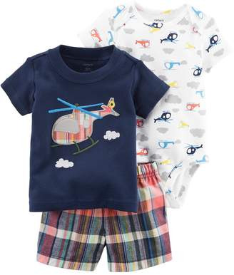 Carter's Baby Boy Helicopter Bodysuit, Embroidered Tee & Plaid Shorts Set