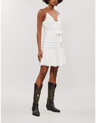 Paige Nahla embroidered cotton-blend mini dress