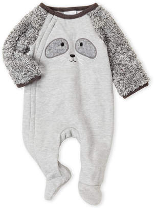 Absorba Newborn Boys) Grey Raccoon Raglan Footie