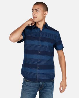 Express Slim Striped Button-Collar Short Sleeve Shirt