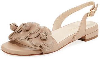 Taryn Rose Ida Flower Flat Slingback Sandal $175 thestylecure.com