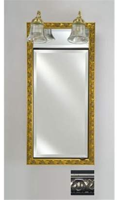 Afina Corporation SD-LT1734RVALSV 17 in.x 34 in.Recessed Single Door Cabinet with Traditional Lights - Valencia Silver