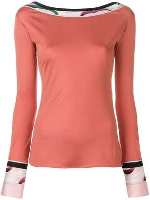 Emilio Pucci boat neck fitted top