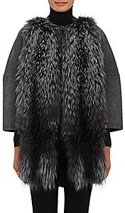 Barneys New York Women's Fur-Front Wool-Cashmere Coat-Charcoal