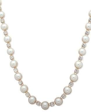 Anne Klein Fireball Accent Pearl Necklace