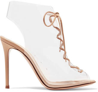 Gianvito Rossi Helmut Plexi 100 Lace-up Pvc And Leather Ankle Boots - Neutral