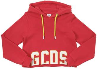 GCDS Cropped Cotton Sweatshirt Hoodie