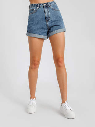 Assembly Label Rolled Hem Shorts in Mid Blue Denim