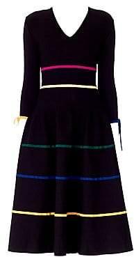 Carolina Herrera Women's Satin Stripe Bow Knit Wool A-Line Dress