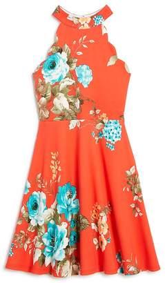 Aqua Girls' Scalloped Floral Dress, Big Kid - 100% Exclusive