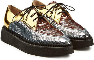 N°21 N21 Gravity Platform Leather Brogues with Sequins