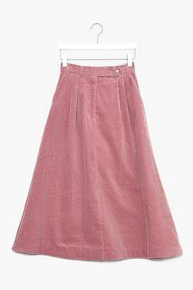 Genuine People Pink Corduroy Midi Skirt