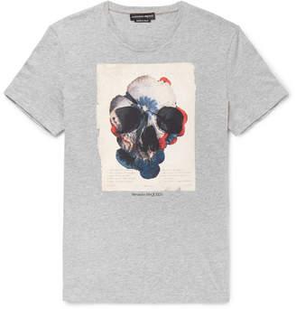 Alexander McQueen Slim-Fit Printed Melange Cotton-Jersey T-Shirt - Men - Gray