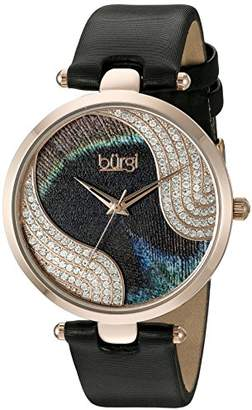 Burgi Women's BUR131BKR Swarovski Crystal Accented Peacock Feather Dial Rose Gold and Black Satin over Leather Strap Watch