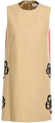 RED Valentino Embroidered Striped Stretch-cotton Mini Dress