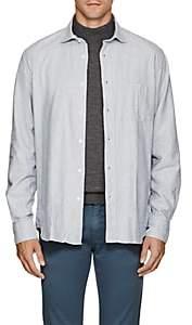 Hartford Men's Brushed Cotton Flannel Shirt - Lt. Blue