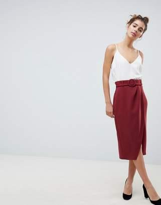 Asos Design DESIGN wrap front midi skirt with self belt