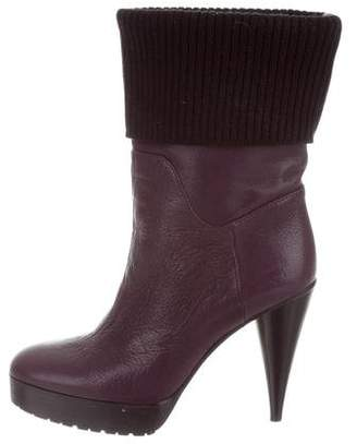 Lanvin Leather Platform Ankle Boots