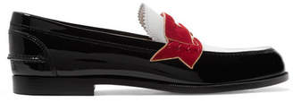 Christian Louboutin Moana Suede And Chain-trimmed Leather Loafers - Black