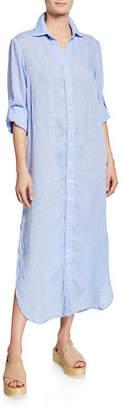 Finley Alex Long-Sleeve Washed Linen Maxi Shirtdress