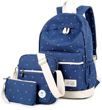 ISHOP-Tech Casual Lightweight Canvas Laptop Bag Shoulder Bag School Backpack Back to School Gifts Set 3