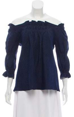Amelia Toro Striped Silk-Linen Blouse