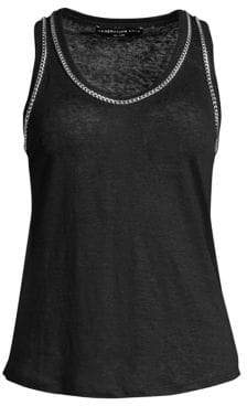Generation Love Women's Taylor Chain Linen Tank Top - Black - Size Small