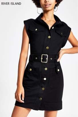 River Island Womens Black Sl Rosie Belted Dress - Black