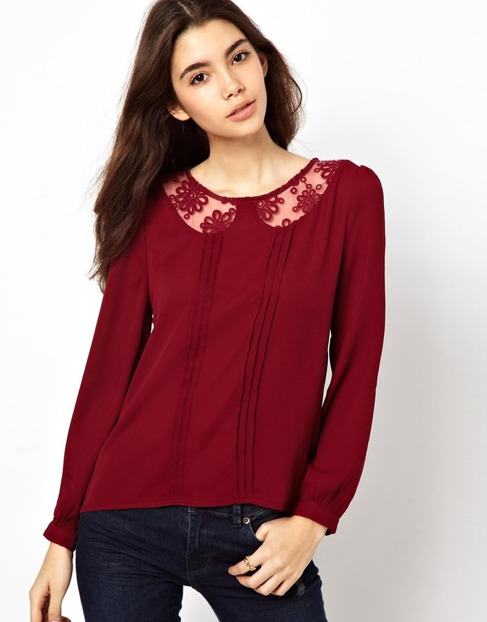 Max C Blouse With Lace Collar Detail