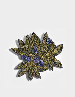 Macon et Lesquoy Olive Branch Brooch in Multicolour Cotton
