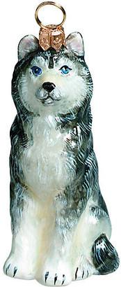 One Kings Lane Siberian Husky Ornament - Gray/White