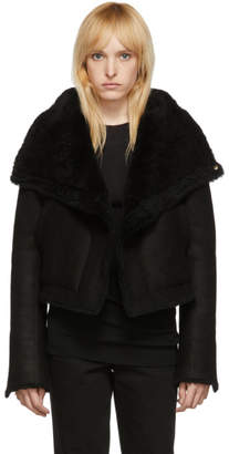 Rick Owens Black Shearling Trucker Biker Jacket