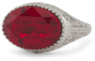 Sterling Silver Swarovski Crystal East West Oval Garnet Ring