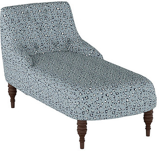 One Kings Lane Lillian Tufted Chaise - Blue Cheetah