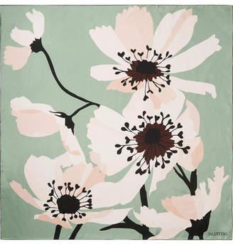 Valentino Floral-print Silk-twill Scarf - Mint