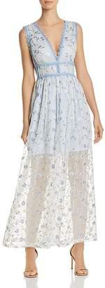 Aqua Lace-Trim Embroidered Maxi Dress - 100% Exclusive