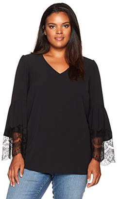 Nine West Women's Plus Size V Neck Crepe Blouse with Lace Combo Sleeves