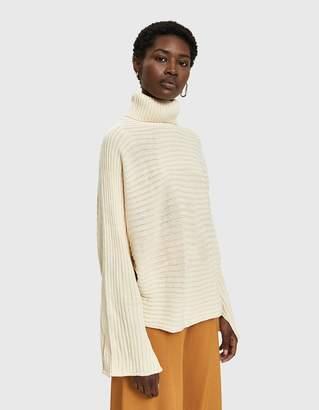 Joie Farrow Rib Knit Turtleneck Sweater in Vanilla